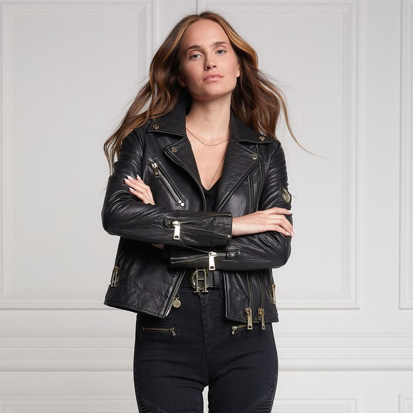 Holland Cooper Womens Black Leather Biker Jacket