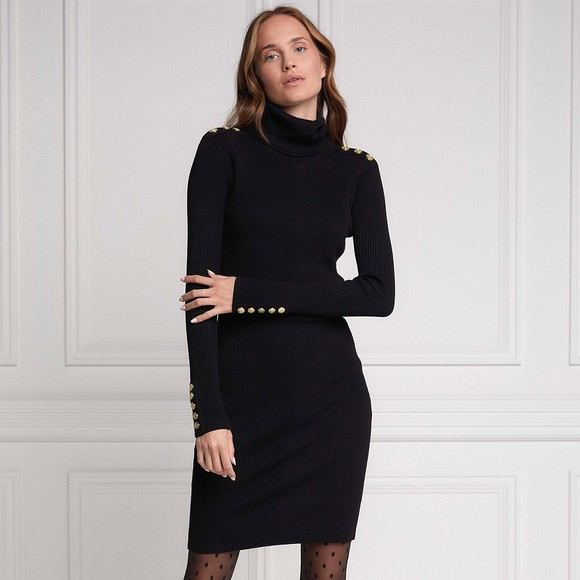 Holland Cooper Womens Black Kensington Jumper Dress