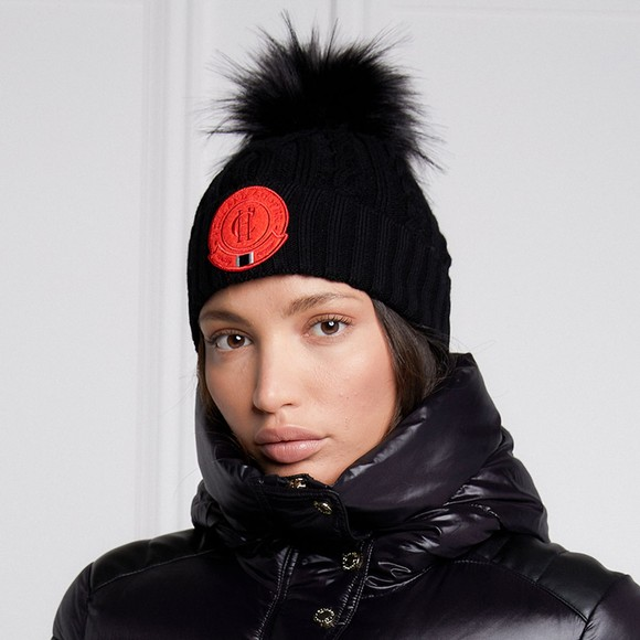 Holland Cooper Womens Black Faux Fur Cable Bobble Hat