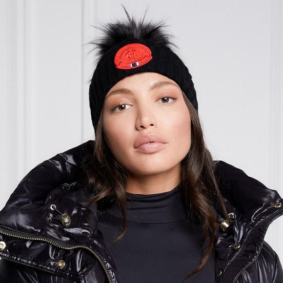 Holland Cooper Womens Black Faux Fur Cable Bobble Hat main image