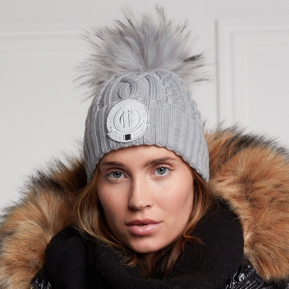 Holland Cooper Womens Grey Faux Fur Cable Bobble Hat