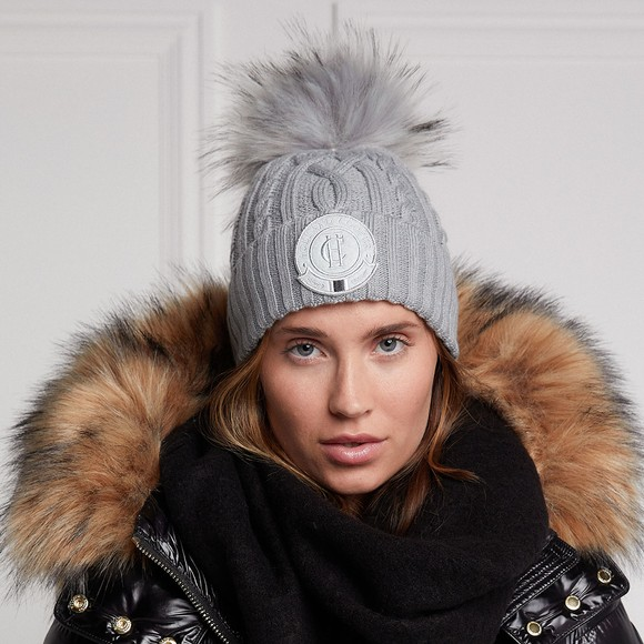 Holland Cooper Womens Grey Faux Fur Cable Bobble Hat main image
