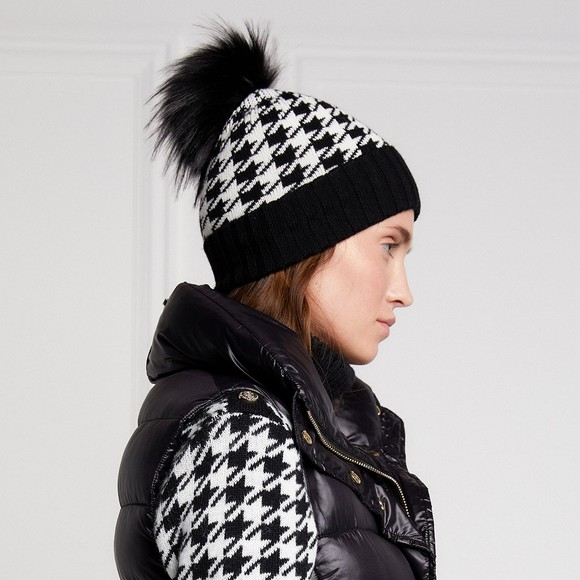 Holland Cooper Womens Houndstooth Knitted Bobble Hat main image