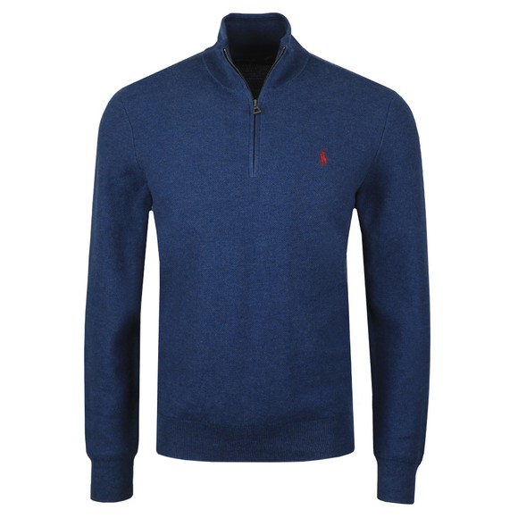 Polo Ralph Lauren Mens Blue Waffle Half Zip Sweatshirt