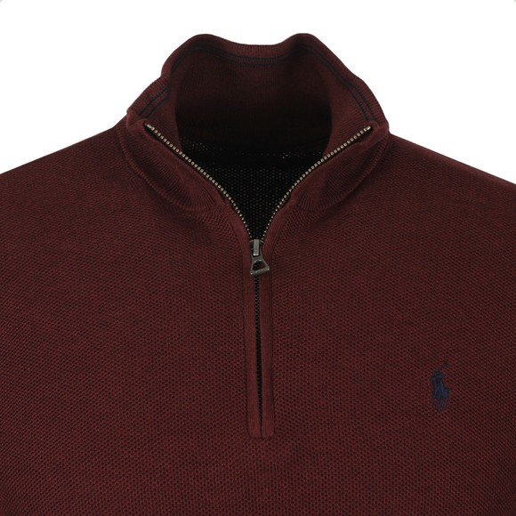 Polo Ralph Lauren Mens Red Waffle Half Zip Sweatshirt
