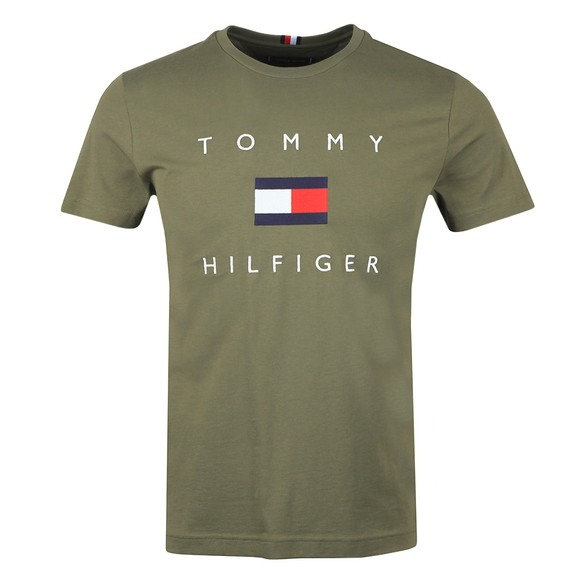 Tommy Hilfiger Mens Green Flag T-Shirt