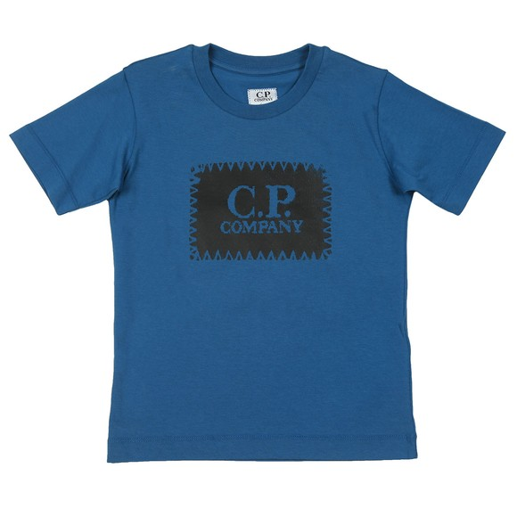 C.P. Company Undersixteen Boys Blue Printed Stamp T Shirt
