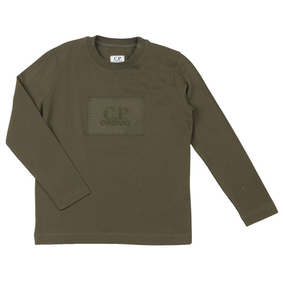 C.P. Company Undersixteen Boys Green Stamp Logo Long Sleeve T Shirt