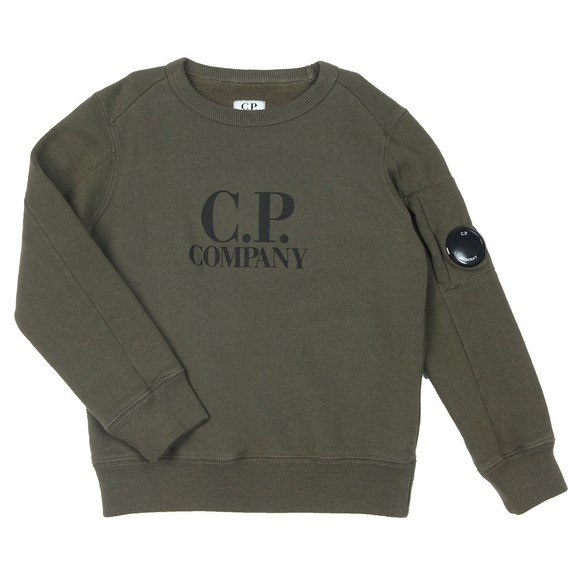 C.P. Company Undersixteen Boys Green Logo Viewfinder Sleeve Sweatshirt