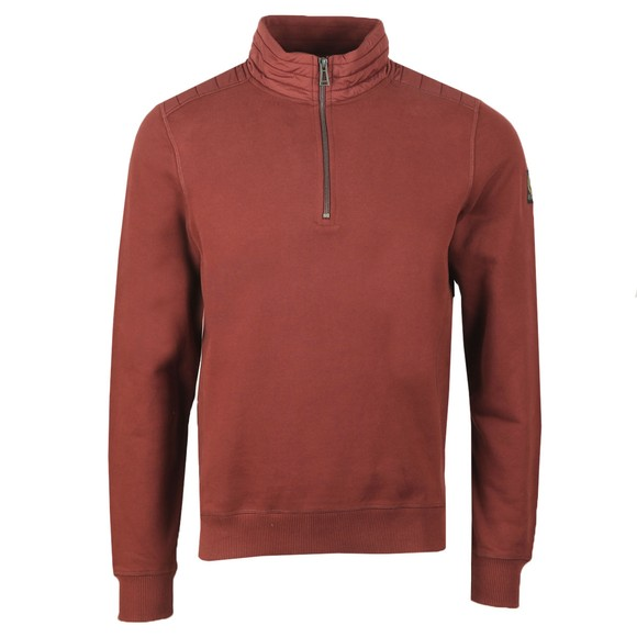Belstaff Mens Red Jaxon Quarter Zip Sweatshirt