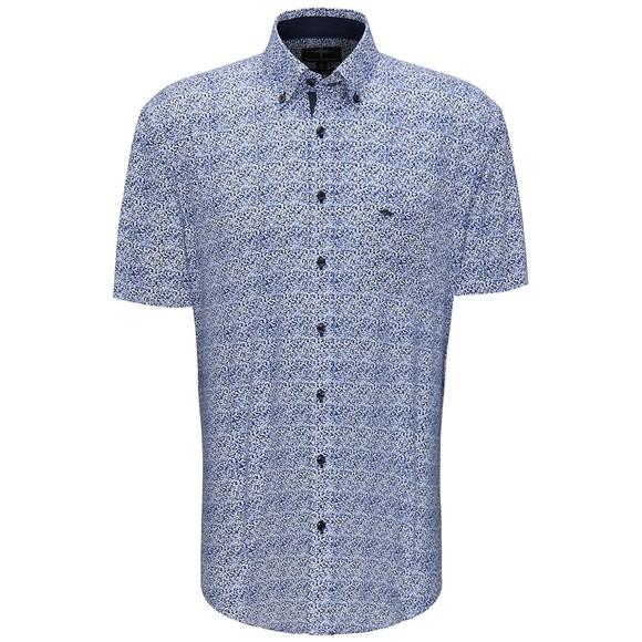 Fynch Hatton Mens Blue S/S Fond Dot Print Shirt