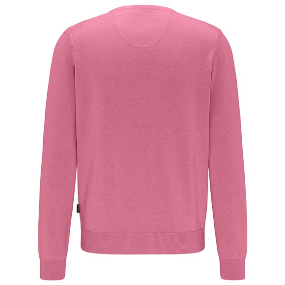 Fynch Hatton Mens Pink V Neck Jumper