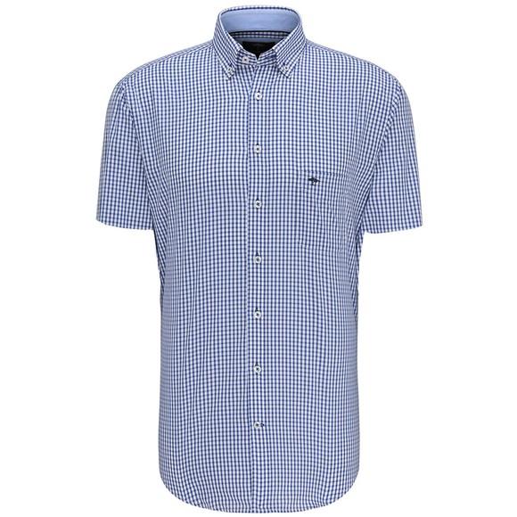 Fynch Hatton Mens Blue S/S Summer Check Shirt main image