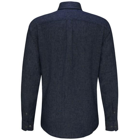 Fynch Hatton Mens Blue Linen Shirt main image