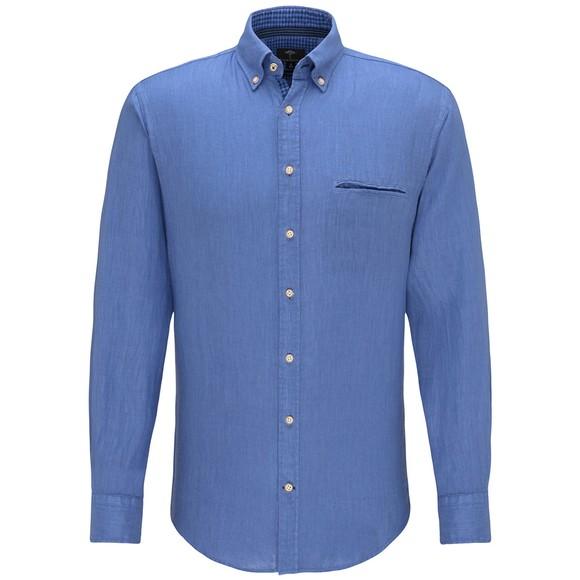 Fynch Hatton Mens Blue Garment Dyed Linen Shirt