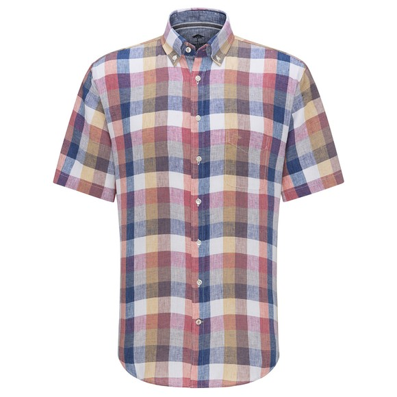 Fynch Hatton Mens Multicoloured Check Linen SS Shirt