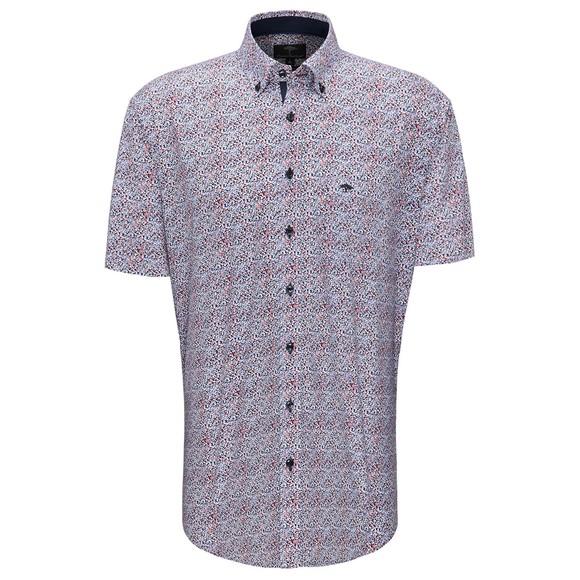 Fynch Hatton Mens Blue S/S Fond Dot Print Shirt main image