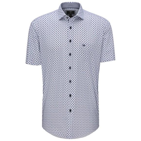 Fynch Hatton Mens Blue S/S Blue Graphic Print Shirt