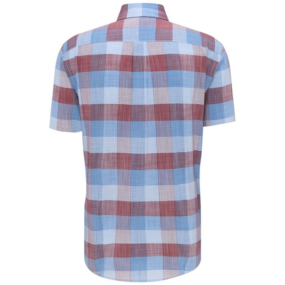 Fynch Hatton Mens Blue S/S Structure Check Shirt