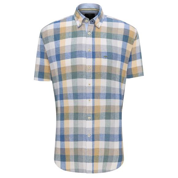 Fynch Hatton Mens Blue S/S Soft Linen Shirt
