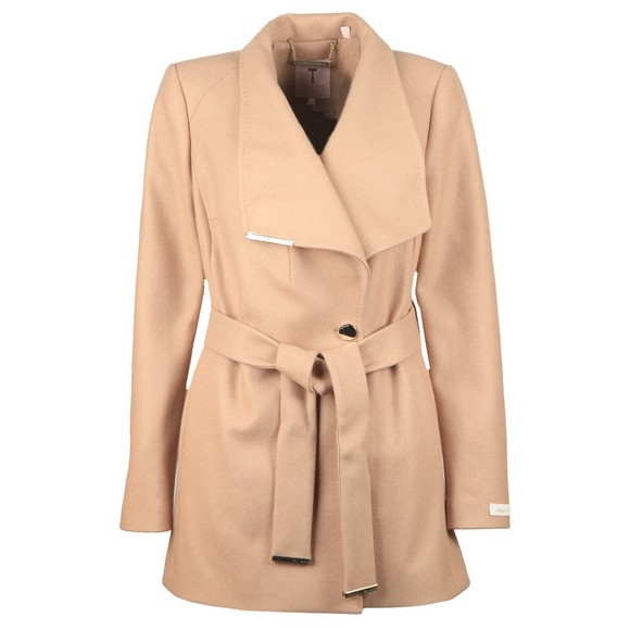 Ted Baker Womens Brown Rosess Short Wool Wrap Coat