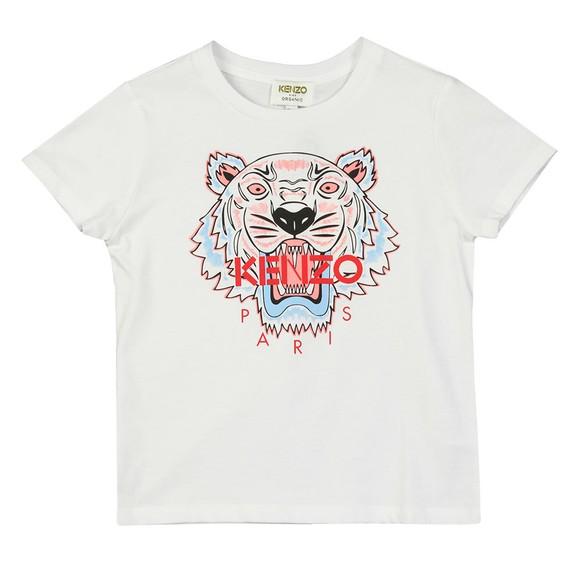 Kenzo Kids Girls White Girls Printed Tiger T-Shirt