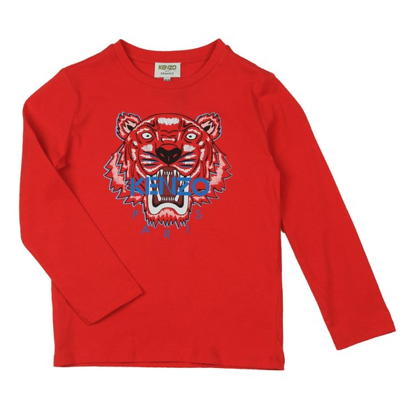Kenzo Kids Boys Red Printed Tiger Long Sleeve T Shirt