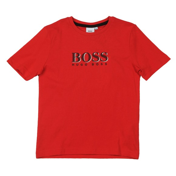 BOSS Boys Red J25G24 Logo T Shirt