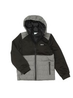 J25G76 Mixed Fabric Hooded Jacket