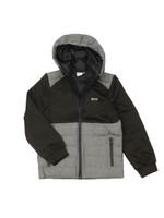 J25G76 Mixed Fabric Hooded Jacket