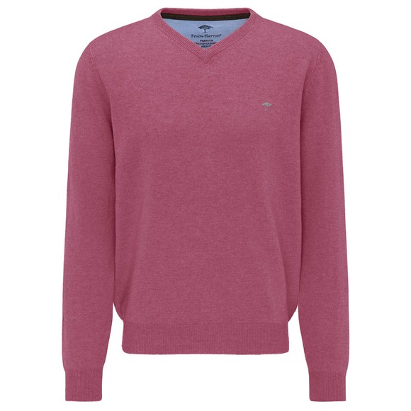 Fynch Hatton Mens Dragonfruit Marino Cashmere V Neck Jumper main image