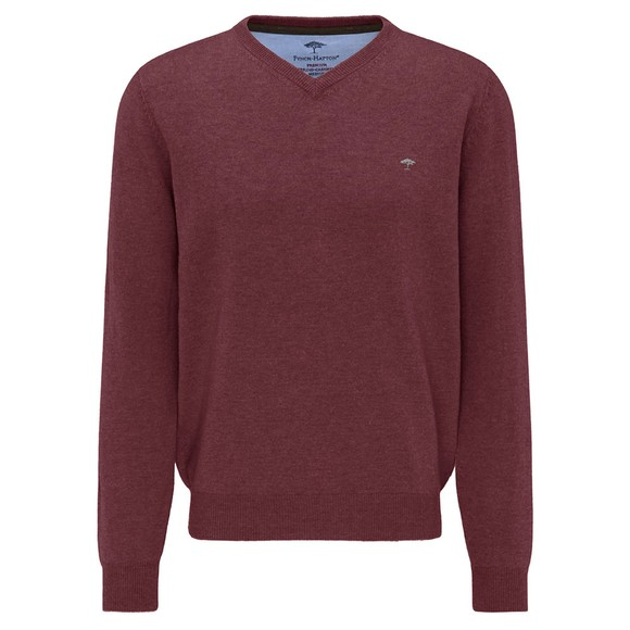 Fynch Hatton Mens Red Marino Cashmere V Neck Jumper