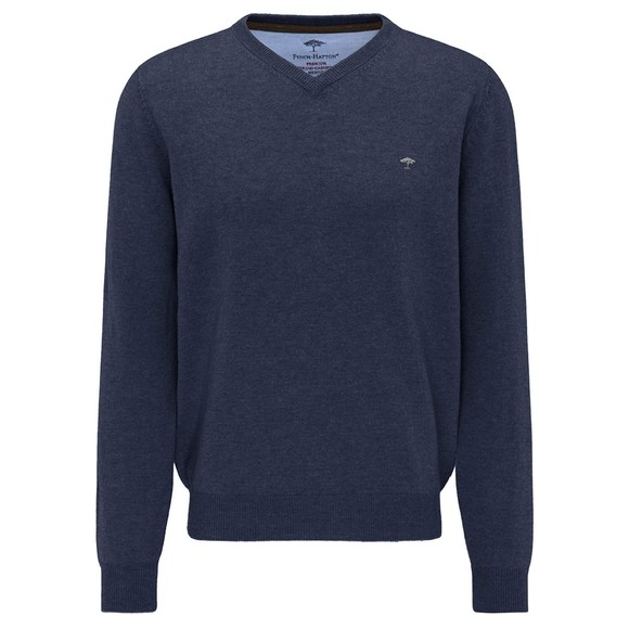 Fynch Hatton Mens Blue Marino Cashmere V Neck Jumper
