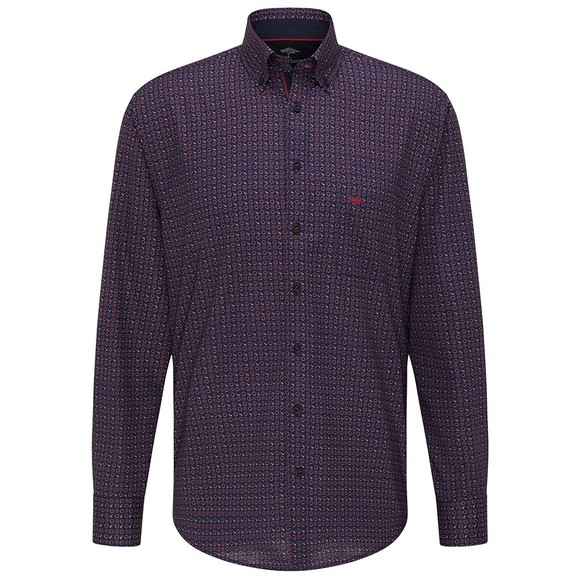 Fynch Hatton Mens Red Premium Winter Blues Shirt main image