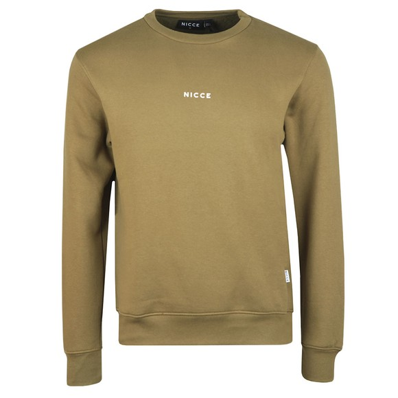 Nicce Mens Green Mini Centre Logo Sweatshirt