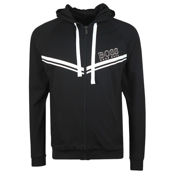 BOSS Bodywear Mens Black Stripe Detail Full Zip Hoody