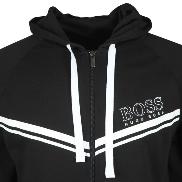 BOSS Bodywear Mens Black Stripe Detail Full Zip Hoody