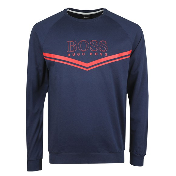 BOSS Bodywear Mens Blue Stripe Detail Crew Sweatshirt