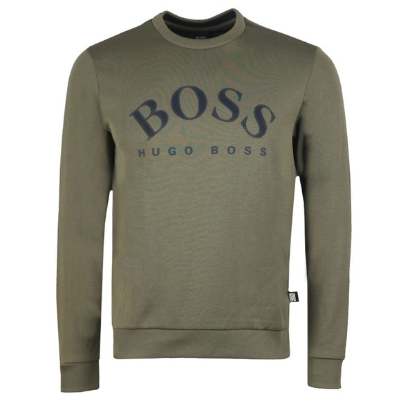 BOSS Mens Green Athleisure Salbo Curved Sweatshirt
