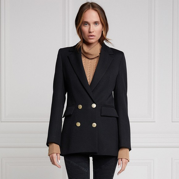 Holland Cooper Womens Black Double Breasted Blazer
