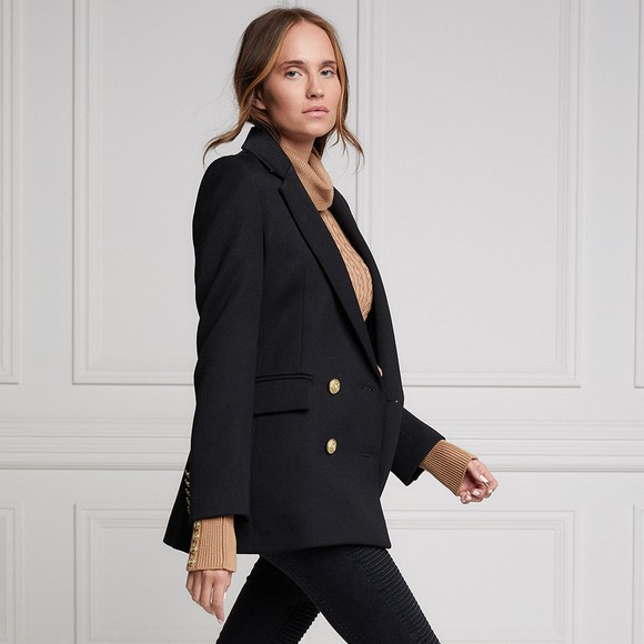 Holland Cooper Womens Black Double Breasted Blazer main image