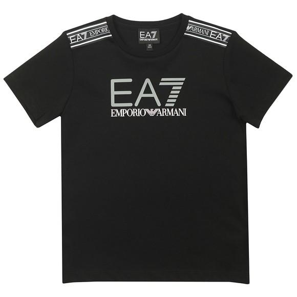 EA7 Emporio Armani Boys Black 6HBT56 Tape Logo T-Shirt