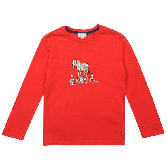 Paul Smith Junior Boys Red Betino Zebra Paint T-Shirt