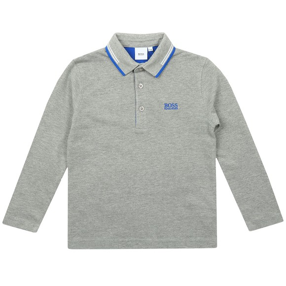 BOSS Boys Grey Twin Tipped Long Sleeve Polo Shirt