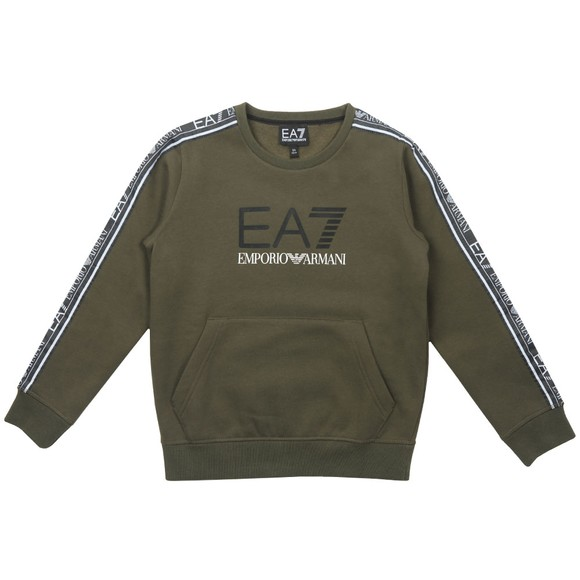 EA7 Emporio Armani Boys Green Tape Sleeve Sweatshirt
