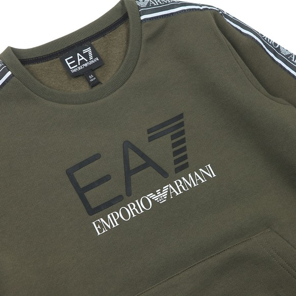 EA7 Emporio Armani Boys Green Tape Sleeve Sweatshirt main image