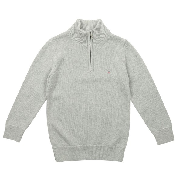 Gant Boys Grey Boys Casual Cotton Half Zip Jumper