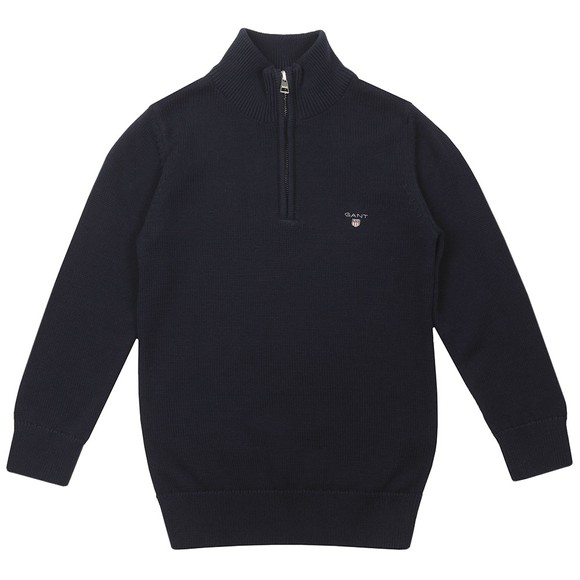 Gant Boys Blue Boys Casual Cotton Half Zip Jumper