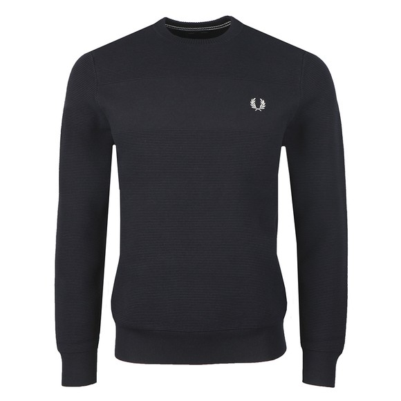 Fred Perry Mens Blue Textured Jumper