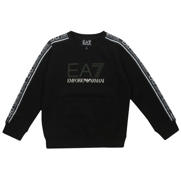 EA7 Emporio Armani Boys Black Tape Sleeve Sweatshirt